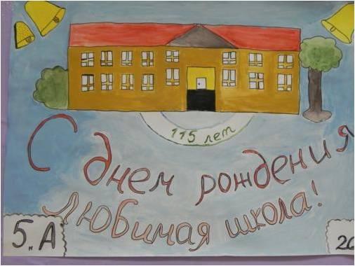 Открытка на юбилей школы рисунок