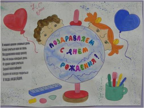 Открытка на юбилей школы рисунок, открытка